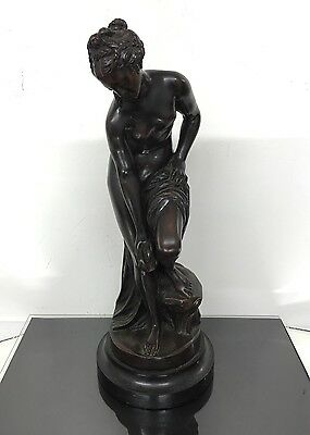 Lovely Antique French Bronze Statue of Gorgeous Young Nude Girl Signed