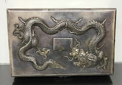 Gorgeous Large Antique Chinese Sterling Silver Dragon Box With Fine Details