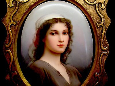 Large Antique KPM Style Portrait of Young Beautiful Girl Signed Wagner
