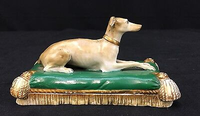 Magnificent Antique German Porcelain Statue of Beautiful Dog Laying on Cushion
