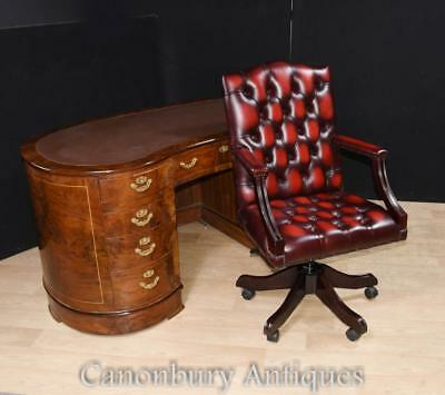 Regency Kidney Desk and Office Swivel Chair Set