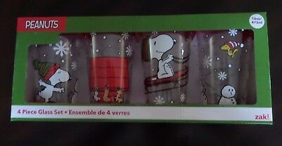 Peanuts Snoopy Charlie Brown Christmas Glasses 16-oz Pint Glass Set of 4-NIB