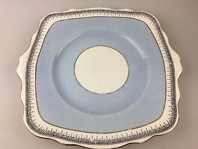 Vintage - Foley Plate - Foley China - Made In England - Blue - White - Gold Trim