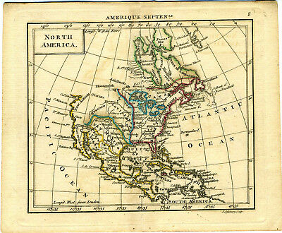 1761 Genuine Antique miniature hand colored map North America. by A. Dury