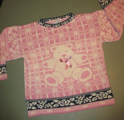 Vintage 90's JET SET Girl's L Teddy Bear Bow Sweater,Pink Ugly Christmas/Winter