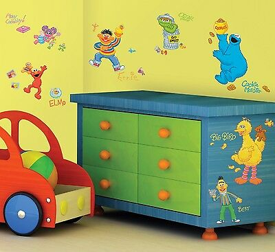 SESAME STREET 45 Removable Wall Decals ELMO BIG BIRD ABBY Room Decor Stickers