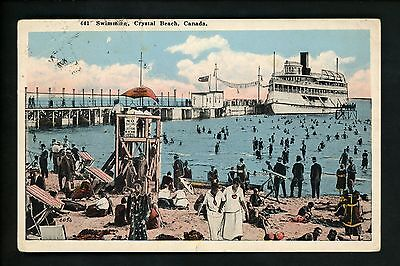Amusement Park postcard Crystal Beach, Canada, swimming beach ship pier view