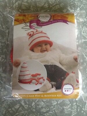 Palette collection knitted candy cane hat and bootees kit