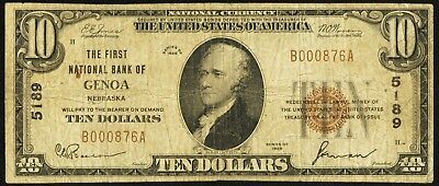 1929 $10 The First National Bank of Genoa, NE - Ch. #5189 SN#B000876A - Rare