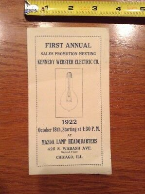 1922 Kennedy Webster Electric Co Sales Meeting Mazda Lamp Headquarters Chicago p