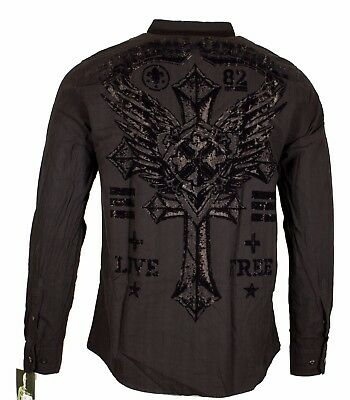 Xtreme Couture AFFLICTION Mens BUTTON DOWN Shirt ROYALTY CROSS WING UFC Roar $78