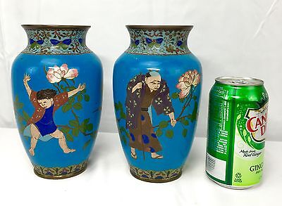 Wonderful Antique Pair Of Chinese / Japanese Cloisonné Vases Fine Quality