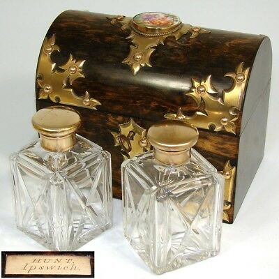 Fine Antique Victorian Coromandel & Gilt Bronze Gothic Double Scent Casket, Box