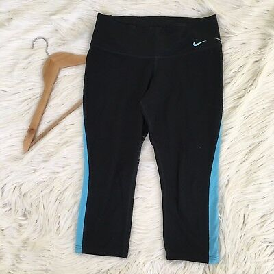 Nike Dri Fit Womens Small Black Cropped Yoga Pants Stretch Athletic Workout