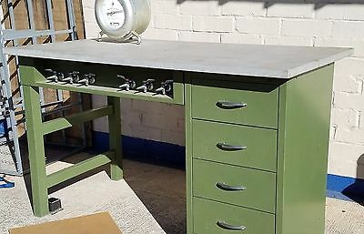 MCM Chemistry Science Lab Table - Slate top with Bunsen air/gas taps