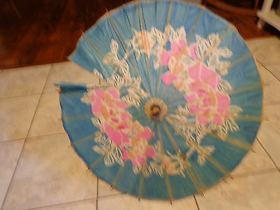 Vintage WWII Okinawa Japan Ladies Floral Parasol Paper and Bamboo Umbrella