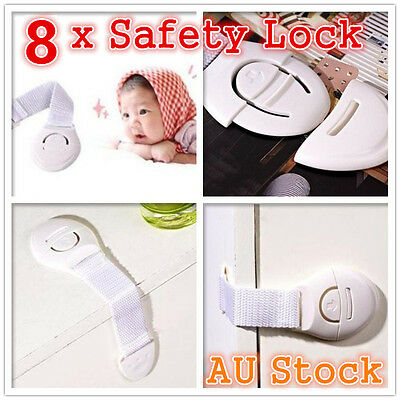 8 x Cupboard Door Drawers Security Safety Lock Locks Baby Child Kids Toddler