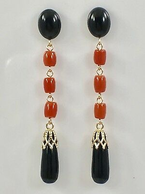 Genuine Black & Red Coral Dangle Earrings Solid 14kt Gold, New