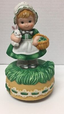 Schmid Musical Collectibles That's an Irish Lullaby Girl Rabbit Porcelain 1984