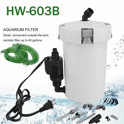 Aquarium Canister Filter 105 GPH 6W Sterilizer SUNSUN HW-603B 40G w/ Kits HS