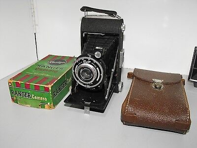 Rare Vintage Ensign Ranger Folding Film Camera with Ensar Lens Carry Case & Box