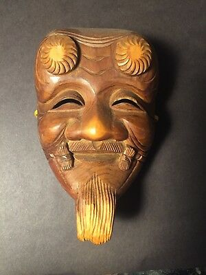 Hand Carved Japanese wooden mask Old Man
