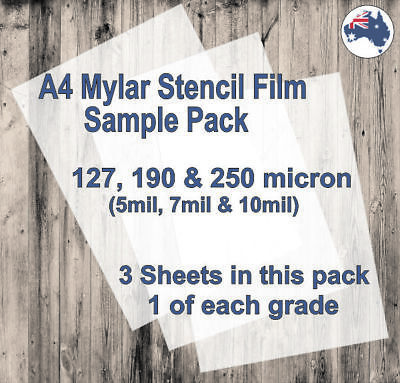A4 Mylar Stencil Film Sample Pack. 127, 190 and 250 micron sheets.