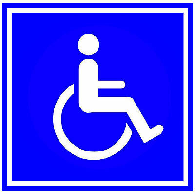 6 X Disabled Signs - Door / Window / Indoor Or Outside Stickers - Peel From Back