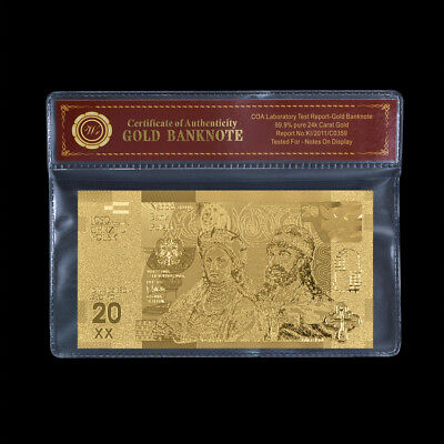 WR Poland 20 Zlotych 24K GOLD Foil Banknote Mint Collectibles Gifts In COA Frame