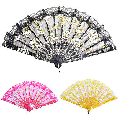 New Chinese Style Dance Party Wedding Lace Folding Hand Held Flower Fan 5ix