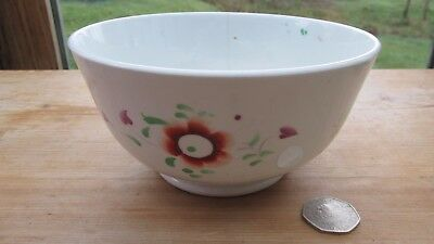 Gaudy Welsh bowl unusual minimalist hand painted antique vintage white quirky