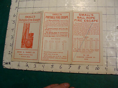 Vintage Original Brochure: 1917 SMALL'S Portable fire Escape