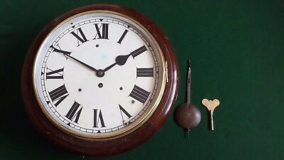 Brne 13322 Mahogany 8-Day Fusee Railway Station Clock