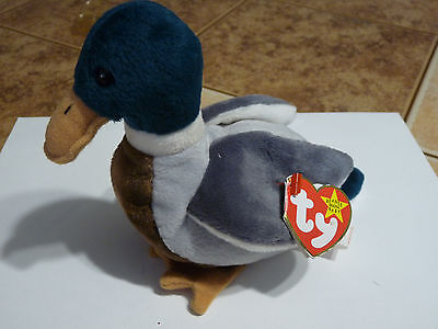 Ty Beanie Babies Original Jake The Mallard With Errors Hang Tag Rare Retired