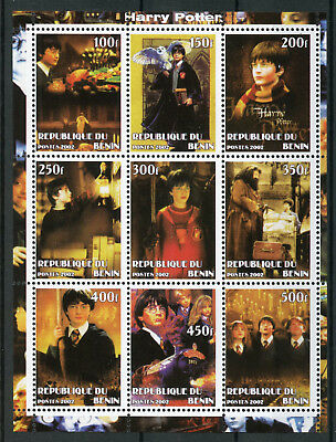 Benin 2002 MNH Harry Potter Hermione Hagrid 9v M/S Movies Film Owls Stamps
