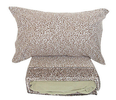 Completo lenzuola in pile 2 piazze matrimoniale maculato Africa beige