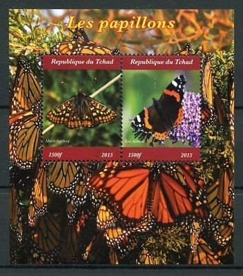 Chad 2015 MNH Butterflies Monarch Butterfly 2v M/S Papillons Insects Stamps