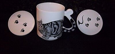Cat Lover Mug Gray Black Striped Tabby + 2 Pawprint Lids Coasters Coffee Mouse