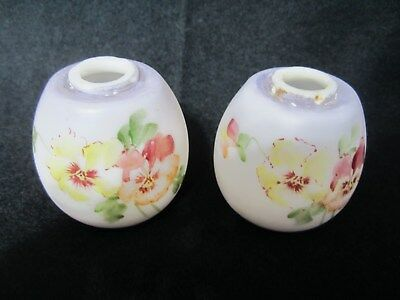 Lovely pair of Mt. Washington Lusterless White Pansy decorated salt & p. shakers