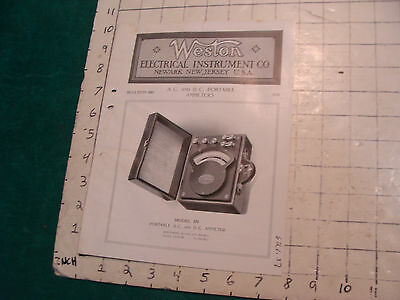 orig. 1915 WESTON Electric inst. co bulletin: A.C. & D.C. PORTABLE AMMETERS