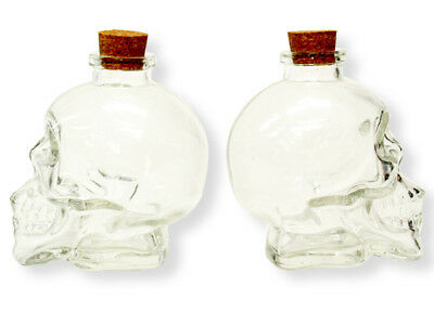 2 X Crystal Clear Glass Skull Head Bottle Cork Vodka Bar Goth Party Shot Alcohol