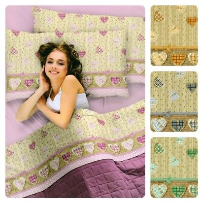 Completo lenzuola in pile letto  singolo 1 piazza cuore Shabby