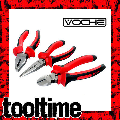3PC VOCHE HEAVY DUTY 150mm COMBINATION LONG NOSE SIDE CUTTER CUTTING PLIERS SET