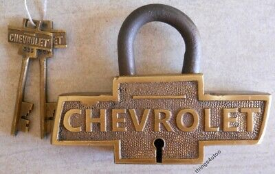 Chevrolet Large Brass lock Chevy Logo Shape padlock with 2 keys #E140