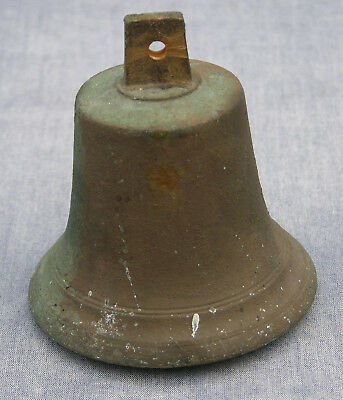 Antique 19th Century Cast Bronze Bell with Cast Iron Clapper, Excellent Patina