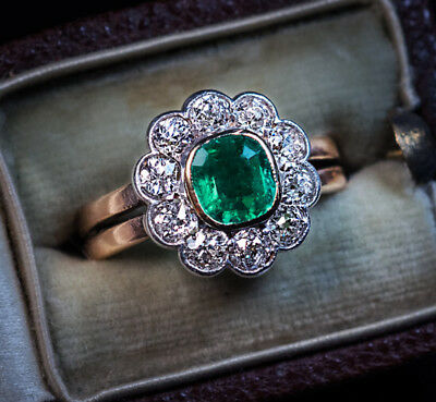 Antique Late 19th Century Emerald Diamond Engagement Ring