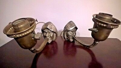 Antique PAIR Figural Monk's Head Art & Crafts Wall Sconces