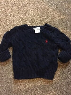 Ralph Lauren Baby Boys Navy Blue Cable Knit Jumper Aged 6 Months