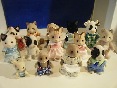 Bundle Of 14 Sylvanian Families Figures With Clothes Variety Of Animals