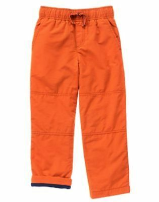 NWT Gymboree Boys Pull on Pants Fleece lined orange gymster 2T,5,7